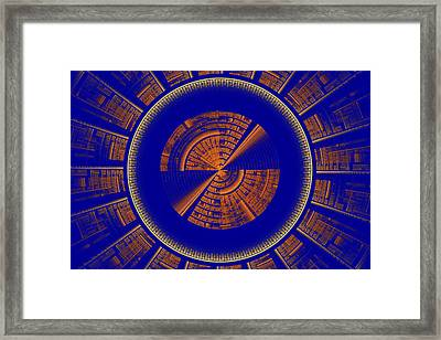 Futuristic Tech Disc Blue And Orange Fractal Flame Framed Print