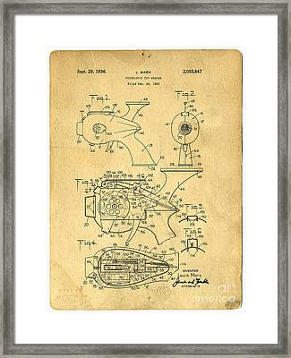 Futuristic Toy Gun Weapon Patent Framed Print by Edward Fielding