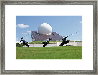 Futuroscope Pavillon And Statues Framed Print by Pascal Goetgheluck/science Photo Library