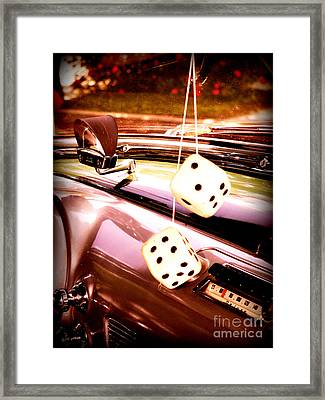 Framed Print featuring the digital art Fuzzy Dice by Valerie Reeves