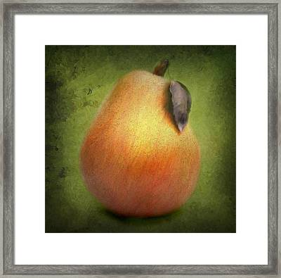 Framed Print featuring the digital art Fuzzy Pear by Nina Bradica