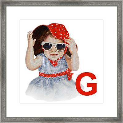 G Art Alphabet For Kids Room Framed Print by Irina Sztukowski