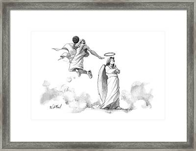 G-d Slam Dunks On An Angel's Halo Framed Print by Will McPhail
