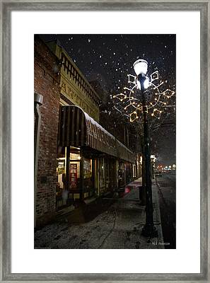 G Street Antique Store In The Snow Framed Print by Mick Anderson