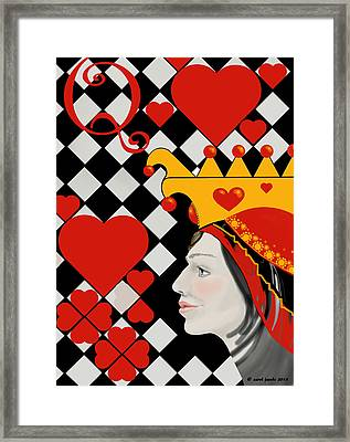 Framed Print featuring the painting Gabby Queen Of Hearts by Carol Jacobs