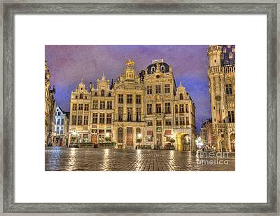 Gabled Buildings In Grand Place Framed Print