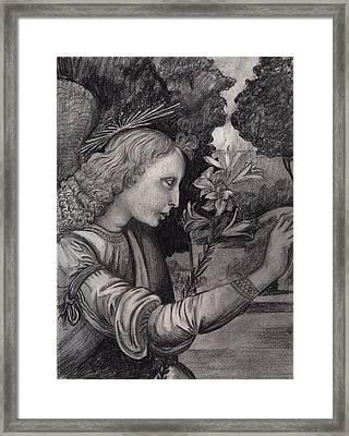 Gabriel At The Annunciation Framed Print by Estefan Gargost