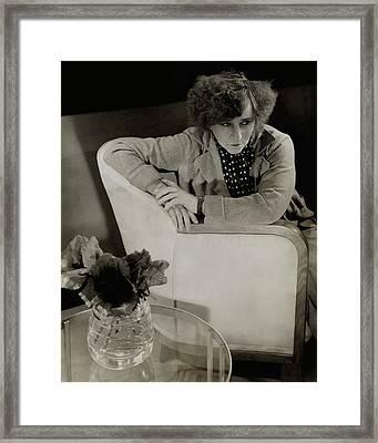Gabrielle Sidonie Colette Sitting On An Armchair Framed Print by Edward Steichen