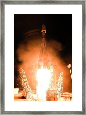 Gaia Space Probe Launch Framed Print by S Corvaja/european Space Agency