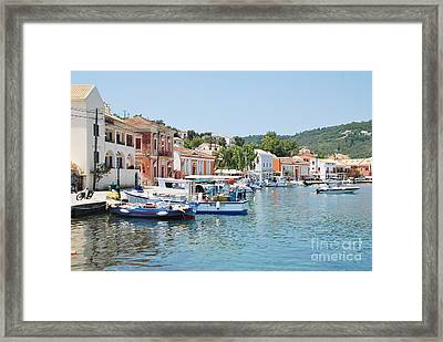 Gaios Harbour On Paxos Framed Print
