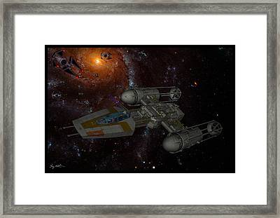 Galactic Battle Framed Print by Tommy Anderson