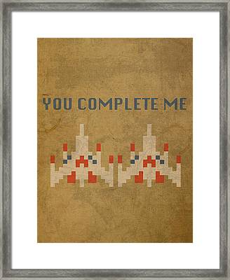 Galaga Vintage Video Game Art You Complete Me Framed Print by Design Turnpike