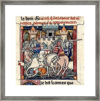 Galahad And Gawain In Tournament Framed Print by British Library