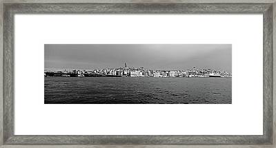Galata Bridge And Buildings On Golden Framed Print