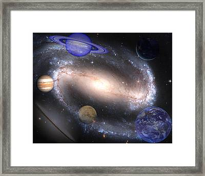 Galaxies And Planets Framed Print by J D Owen