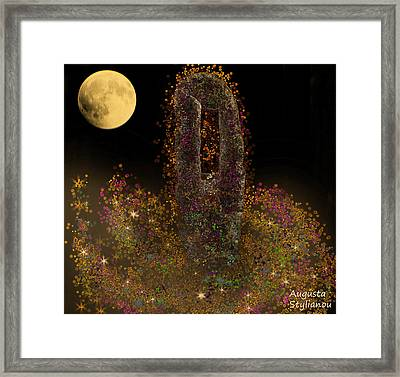 Galaxy And Full Moon Framed Print by Augusta Stylianou