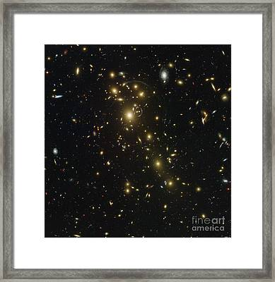Galaxy Cluster Abell 1703 Framed Print by Science Source