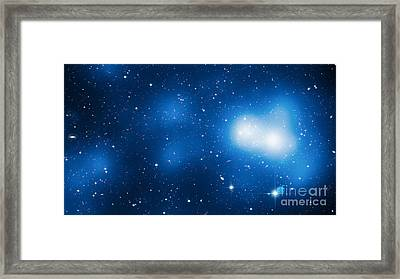 Galaxy Cluster Macs J0717 Framed Print by Science Source