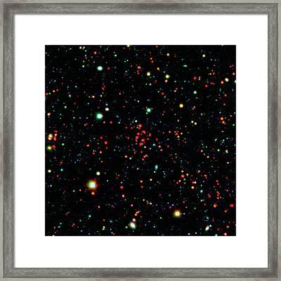 Galaxy Cluster Framed Print by Nasa/jpl-caltech/kpno/university Of Missouri-kansas City