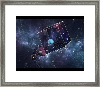 Galaxy Cube Framed Print by Astrid Rieger
