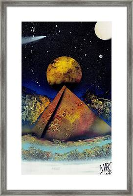 Galaxy Desert Pyramids Framed Print by Marc Chambers