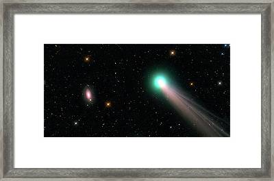Galaxy M63 And Comet C2013 R1 Framed Print by Damian Peach