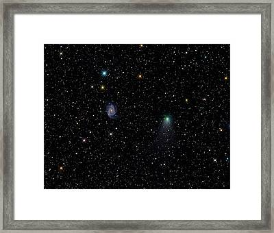Galaxy Ngc 2997 And Comet C2012 V2 Framed Print