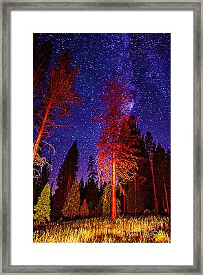 Framed Print featuring the photograph Galaxy Stars By The Campfire by Jerry Cowart