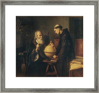Galileo Demonstrating The New Astronomical Theories At The University Of Padua Framed Print by Felix Parra