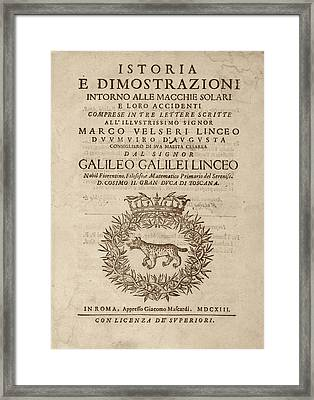 Galileo On Sunspots Framed Print