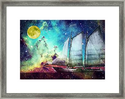 Galileo's Dream - Schooner Art By Sharon Cummings Framed Print