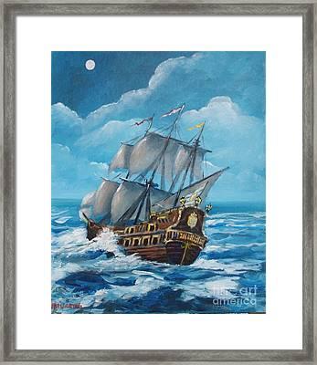 Galleon At Night Framed Print