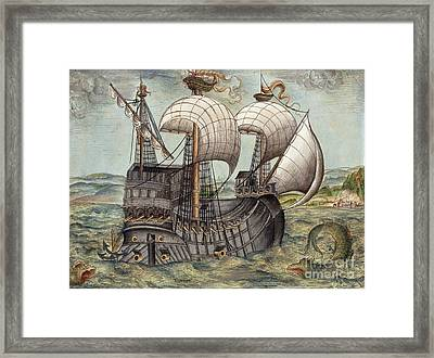 Galleon Sails To Venezuela, 16th Century Framed Print by British Library