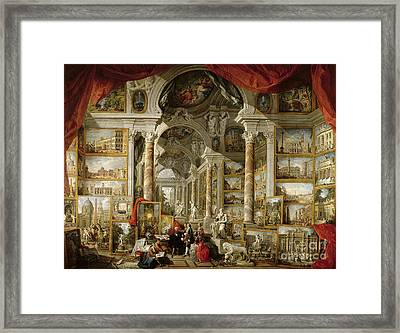 Gallery With Views Of Modern Rome Framed Print by Panini
