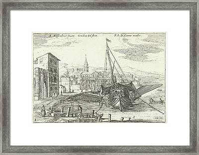 Galley In An Italian Port, Cornelis Bol, Franois Langlois Framed Print by Cornelis Bol And Fran?ois Langlois