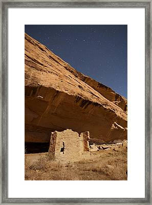 Gallo Cliff Dwelling Under The Bright Moon Framed Print