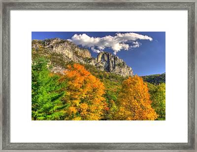 Galloping Cumulus Above Seneca Rocks - Seneca Rocks National Recreation Area Wv Autumn Mid-afternoon Framed Print