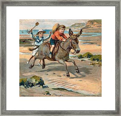 Galloping Donkey At The Beach Framed Print by Unknown