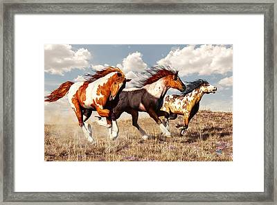 Galloping Mustangs Framed Print