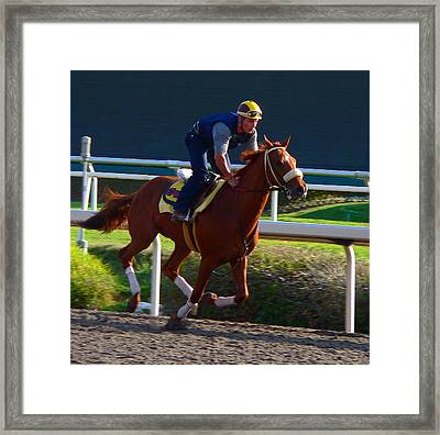 Galloping Race Horse Framed Print by Jeff Lowe