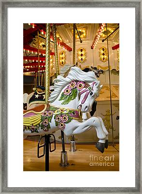 Framed Print featuring the photograph Galloping White Beauty - Vintage Carousel Horse by Maria Janicki