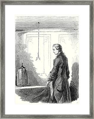 Galvani Causes Contractions In A Frog With Electricity Framed Print by English School