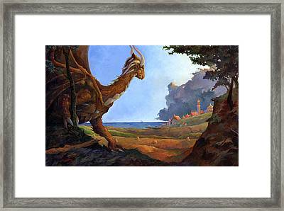Galversharn The Dragon Looking For Her Eggs Framed Print by Storn Cook