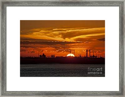 Framed Print featuring the photograph Galveston At Sunset by Shirley Mangini