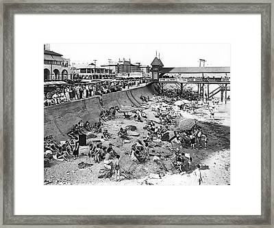 Galveston Beach Scene Framed Print
