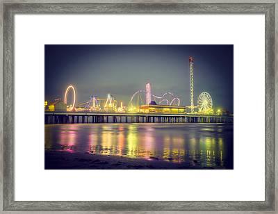 Galveston Pier Colors Framed Print by Ray Devlin