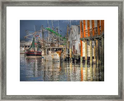 Framed Print featuring the photograph Galveston Shrimp Boats by Savannah Gibbs