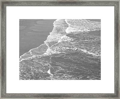 Galveston Tide In Grayscale Framed Print