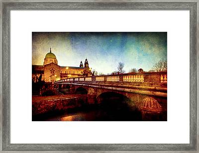 Galway Cathedral And The Salmon Weir Bridge Framed Print by Mark Tisdale
