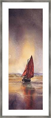 Galway Hooker Reflections Framed Print by Roland Byrne